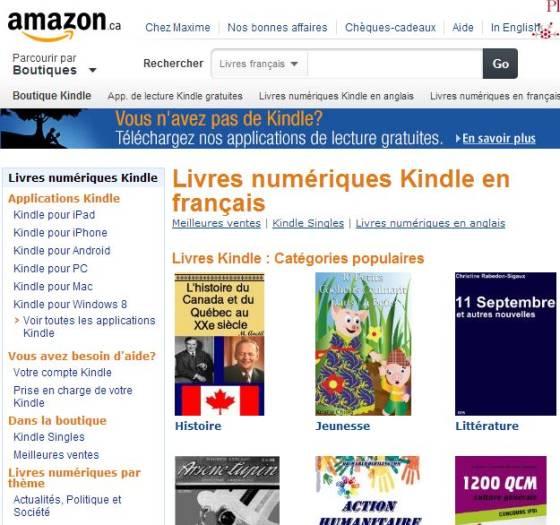 Amazon Canada Lance Sa Boutique De Livres Electroniques